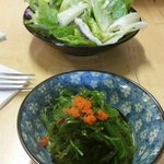 Seaweed salad and house salad.