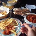 King prawn vindaloo chips vegetable rice peahwari naan - bang on My mate had a chicken pasanda,