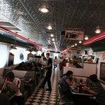 Inside the diner.