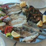 Our fish meal at the Akrogiali taverna