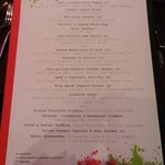 The menu for the dining room - Great dinner!