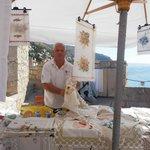Man selling lace. Dubrovnik Croatia