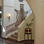 Decor is heavy of hunting trophies