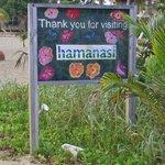Hamanasi sign on the beach.