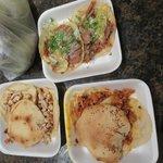 chorizo, pork, and chicken tacos
