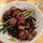 skillet mushrooms/ shiitake and cremini mushrooms, farro, asparagus, sherry cream sauce