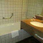 Clean bathroom with toiletries