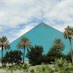 The blue pyramid which houses the aquarium.