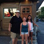Dad (Dr. Jim Brown and kids (Ashley and Abby) in front of McCann's restaurant