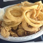Fried Oysters With Onion Rings And Fries