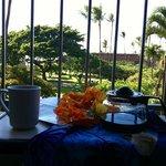enjoying a cuppa on my hotel room balcony...