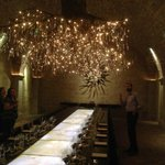 Tasting in the cave room under a beautiful chandelier