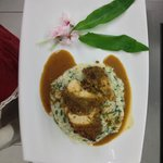 maispoularde con riso agli spinaci novelli
