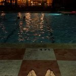At night chilling at the pool