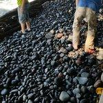 Black pebble stoned shore