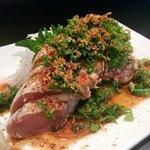 Tuna tataki sashimi.  My favorite is seated Tuna with super good ponzu sauce. John and all staff