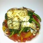 Grilled calamari with vegetables