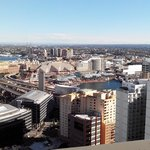 View from the balcony to Darling Harbour.