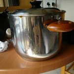 Filthy cookware.  Only one saucepan when we arrived.