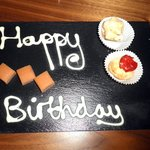Complimentary desserts - Happy birthday instead of happy anniversary