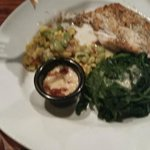 Corvina with seasonal vegetables, steamed spinach and jalapeno bacon sauce