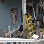 The back porch under restoration: 1