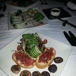 salad and bruschetta
