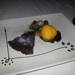 Choc sponge cake with sorbet