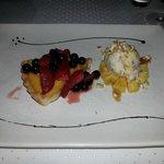 vegan pumpkin pie with summer fruits & banana ice cream