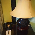 Rotary dial phone in the room