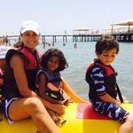 Enjoying banana boat ride as part of kids club