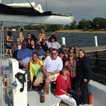 Team outing on the NautiCat catamaran at the resort