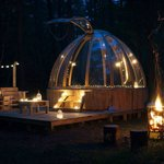 Woodland Hide Unidome by candlelight.