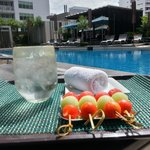 ice water, furits and cold towel by pool