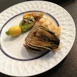 Zuccini Blossoms, artichoke, shrimp with aoli