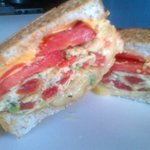 THIS WAS MY EGG, CHEESE AND TOMATO SANDWICH.... YUMMY!