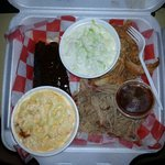 BBQ Sampler, ribs, pulled pork and chicken. Sides of cole slaw and mac n cheese.
