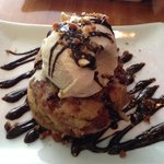 Bread pudding with ice cream dessert - bread pudding should be served warm