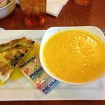 cr of carrot soup and asparagus/goat cheese quiche