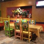 brightly colored painted chairs!