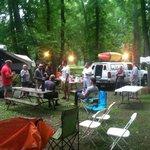 Saturday evening.  Food, horseshoes, boats, shade, fun!