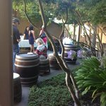 Wine tasting in the courtyard