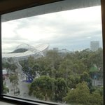 view was nice of Olympic village but window had not been washed in a LONG time