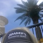 Out by the pool with my Jimmy's visor from the gift shop