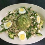 The green rice pilaf salad here is awesome!