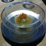 Ravioli de guisante con papada ibérica