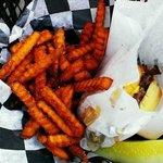 The Cowboy burger w/Sweet Potato Fries