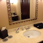 One of two facing vanity areas