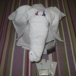 towel elephant with candy eyes