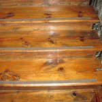 gleaming antique wood stairway